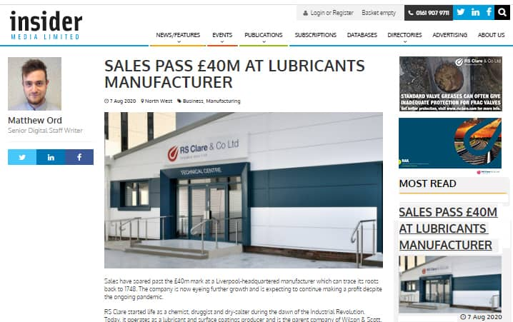 RS Clare's Sales Pass £40m